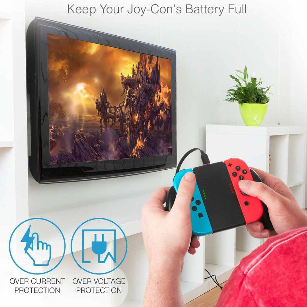 Para Nintendo Switch Joy Con controlador de agarre cómodo soporte de mango de cargador accesorios de juego