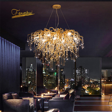 Nordic Luxe Gold Crystal Led Kroonluchter Loft Villa Grote Lustre Led Hanglamp Voor Woonkamer Hotel Hal Art Decor verlichting