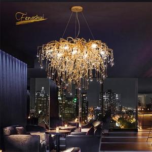 Image 1 - Nordic Luxury Gold Crystal LED Chandelier LOFT Villa Large Lustre LED Pendant Lamp for Living Room Hotel Hall Art Decor Lighting