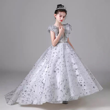 Flower Girl Dresses Illusion Crystal Sequined Sleeveless O-Neck Princess Floor-Length Tulle Luxury Silver Kids Party Gown H535