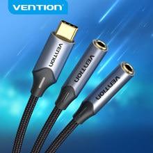 Vention Type C à Double 3.5 Jack USB C À 3.5mm Aux Double Écouteurs Adaptateur Audio Pour USB-C TABLETTE Téléphone Portable Jack 3 5 câble