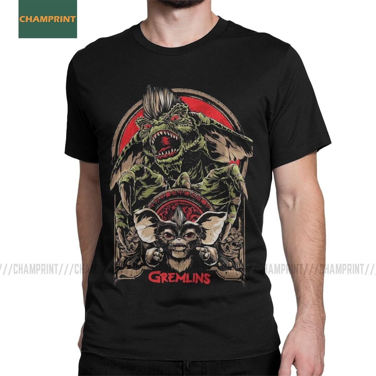 Gremlins Men's T Shirts Gizmo 80s Movie Mogwai Monster Horror Retro Sci Fi Creative Tees Short Sleeve T-Shirts Cotton 6XL