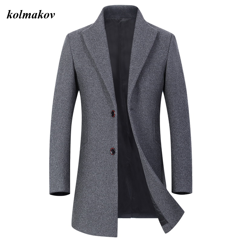 New Arrival Style Men Boutique Woolen Coat High Quality Business Casual Solid Wool Loose Turn-down Collar Trench Coat
