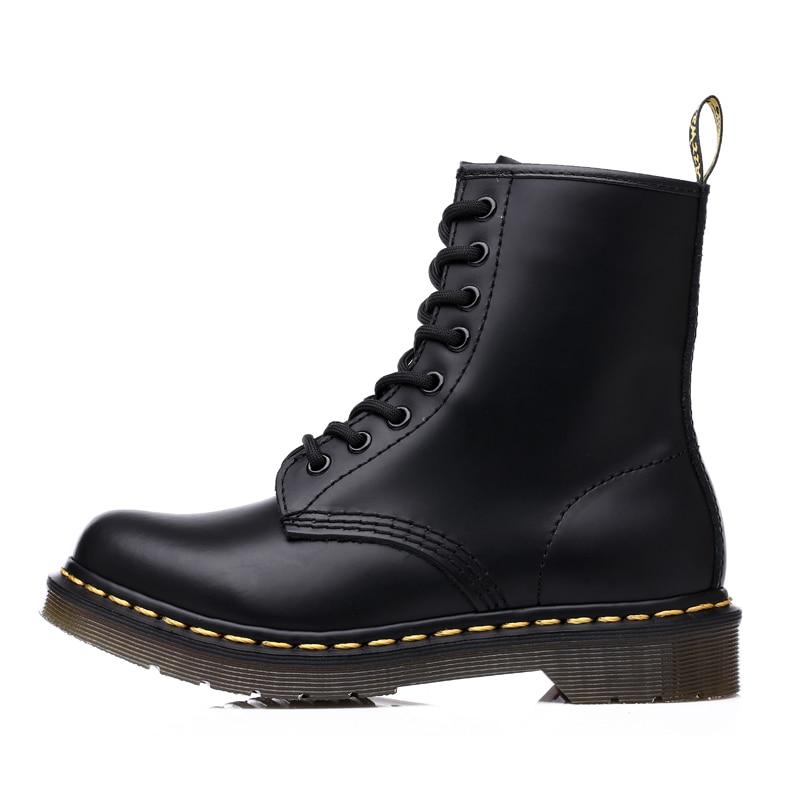 Botas de tobillo Unisex zapatos de hombre Botas de cuero de tamaño grande de la motocicleta estilo clásico de Inglaterra zapatos de seguridad de trabajo masculino NO talla 46