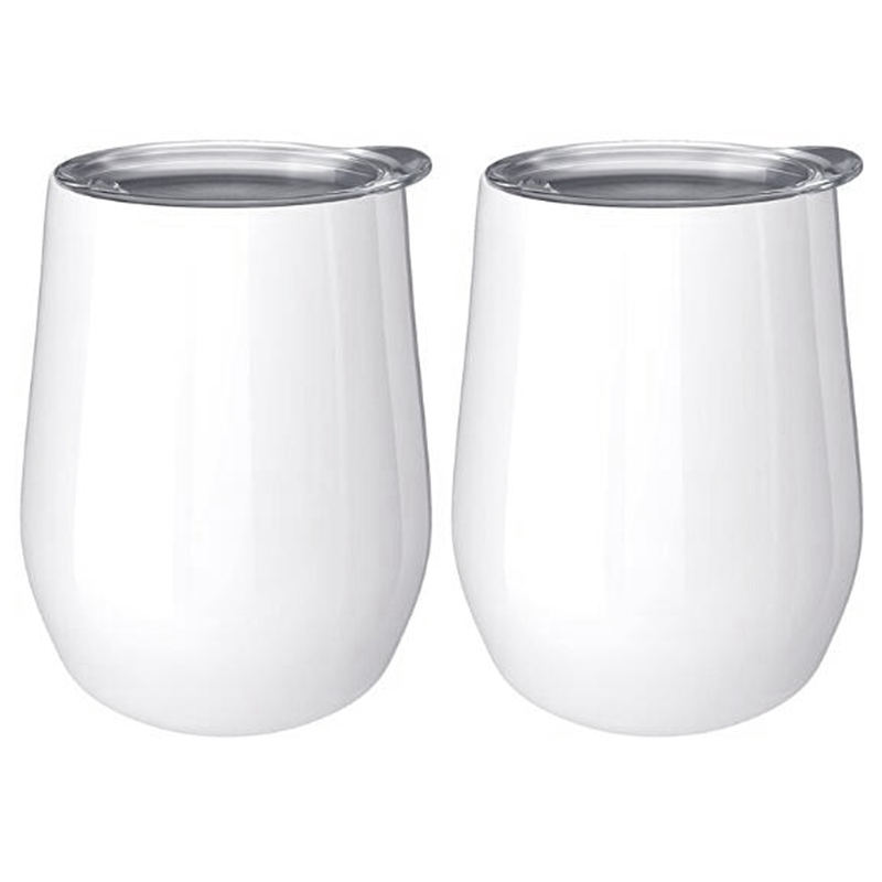2Pcs 12Oz Stainless Steel Eggshell Coffee Double-Layer Vacuum Insulated Tumbler Cup <font><b>Drink</b></font> with Lid Wine Coffee <font><b>Drink</b></font> image