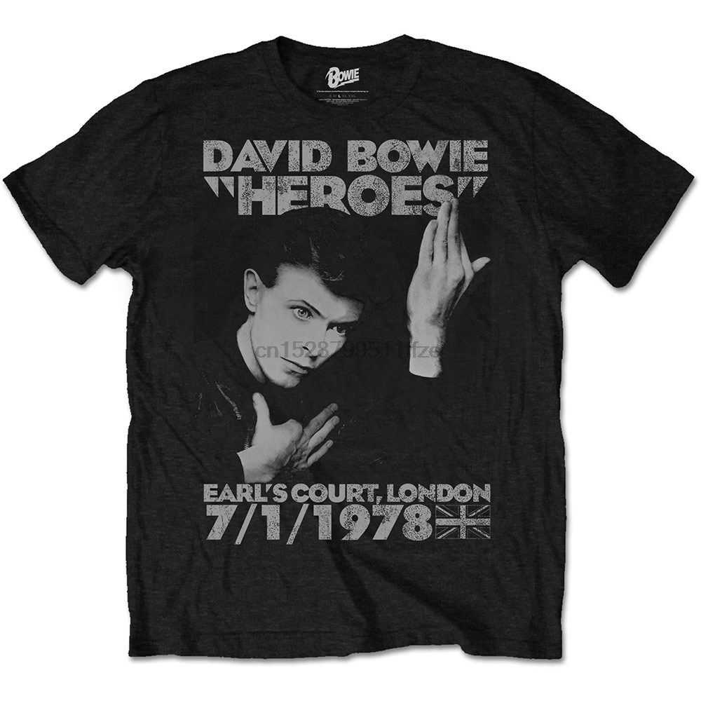 David Bowie Heroes Earls Corte Ufficiale Glam Rock Musica Tee T-Shirt Mens T Shirt Uomo 2019 di Estate 100% Cotone