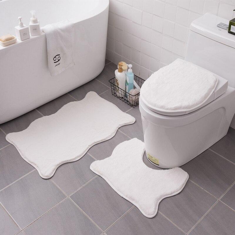 Fluffy Bathroom Carpet Special Shaped, White Fluffy Bathroom Rugs