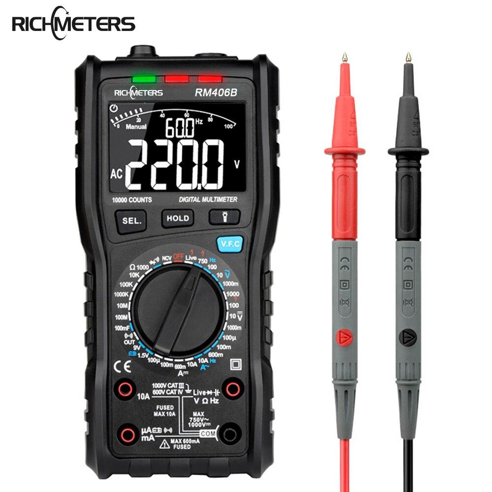 RM406B Velocidade DC DC 10000 Counts Multímetro Digital Capacitância Testador Rápido digitais multimetro profissional Anti-queimadura de Alarme