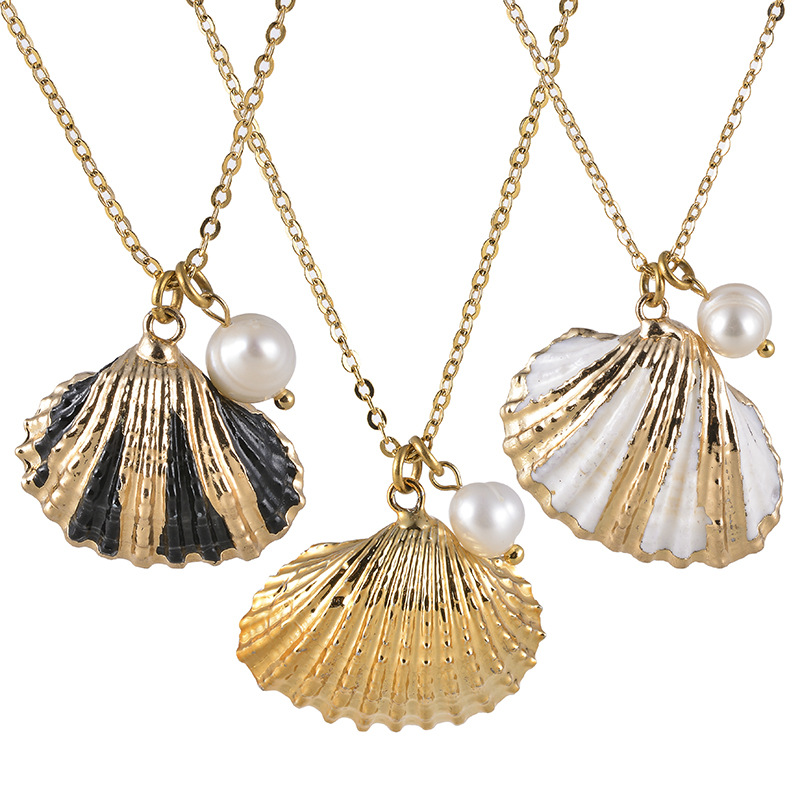 XUXI Women Clavicle Chain Necklace Shell Pendant Cross-Chain O-chain Hyperbole S011