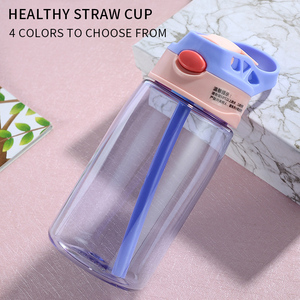 New 380ML 4 Colors Baby Straw Water Bottles Sippy Cup Push Button Water Bottle for Infant Newborn Children with Easy Grip Band