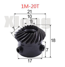 1M-20Teeths Inner Hole: 8mm  Precision Spiral Bevel Gear Helical Bevel Gear 0.02g 0 5m 27t aluminum alloy precision spur gear hole d 3mm