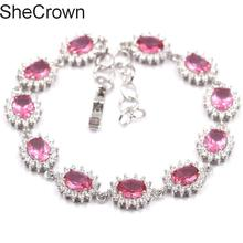 17x11mm Fantastic Pink Tourmaline SheCrown CZ Woman's Party Silver Bracelet 7.0-8.0in