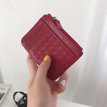 Genuine Lambskin Leather Thin Credit Card Holder Knitted Soft Mini Women Wallet With Zipper Coin Pocket Female Candy Color Purse