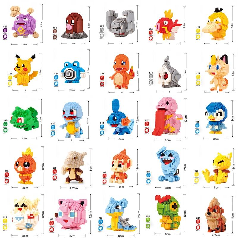 DIY Diamond Building Blocks Mini Cartoon Pikachus Animals Educational Games Figures Bricks Compatible Toys For Children No Box