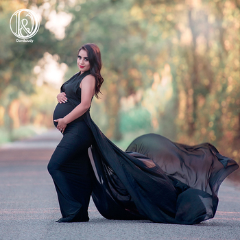 Don&Judy V-neck Long Train Gown Maternity Photography Prop Maternity Dresses For Photo Shoot Pregnancy Dress Photography Props clearance chiffon gown maternity dress for photo shoot split front maternity photography prop maternity dress without shorts