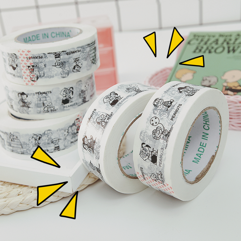 1 Pc Peanuts Snoopy Cartoon Kawaii Packaging Tape Large Roll 120 Metres White Bottom Lovely Cartoon Animation Opp Tape