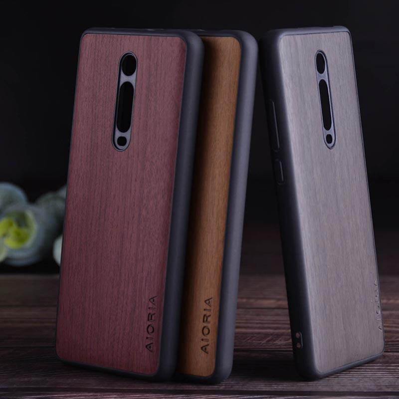 Wood Like <font><b>case</b></font> for Xiaomi Redmi <font><b>K20</b></font> <font><b>Pro</b></font> mi 9T mi9T soft TPU silicone&Hard PC&wood PU leather skin covers coque fundas image