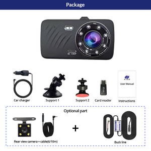 Image 5 - E ACE Car DVR 4 Inch Touch Auto Camera Dual Lens Dashcam FHD 1080P Registrator With Rear View Camera Dash Cam Video Recorder