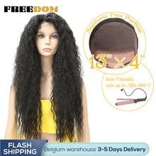 Perucas sintéticas resistentes ao calor naturais do cabelo da linha fina para a mulher negra peruca longa encaracolada do laço de ombre da liberdade com cabelo do bebê