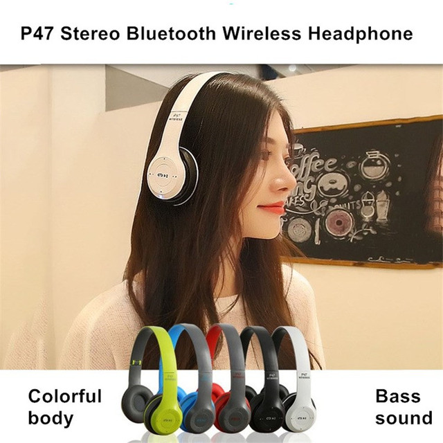 Wireless Headset Foldable Stereo Bass Bluetooth Headphones Kid Girl Helmet Gift,with Mic USB Bluetooth 5.0 Adaptor For TV Gaming 2