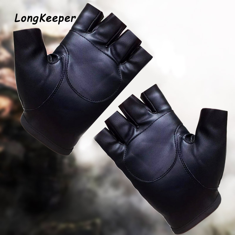 Fahion 1Pair Half Finger Driving PU Leather Fingerless Gloves Black Solid Female Fingerless Women Men Haulage Motor Punk Gloves