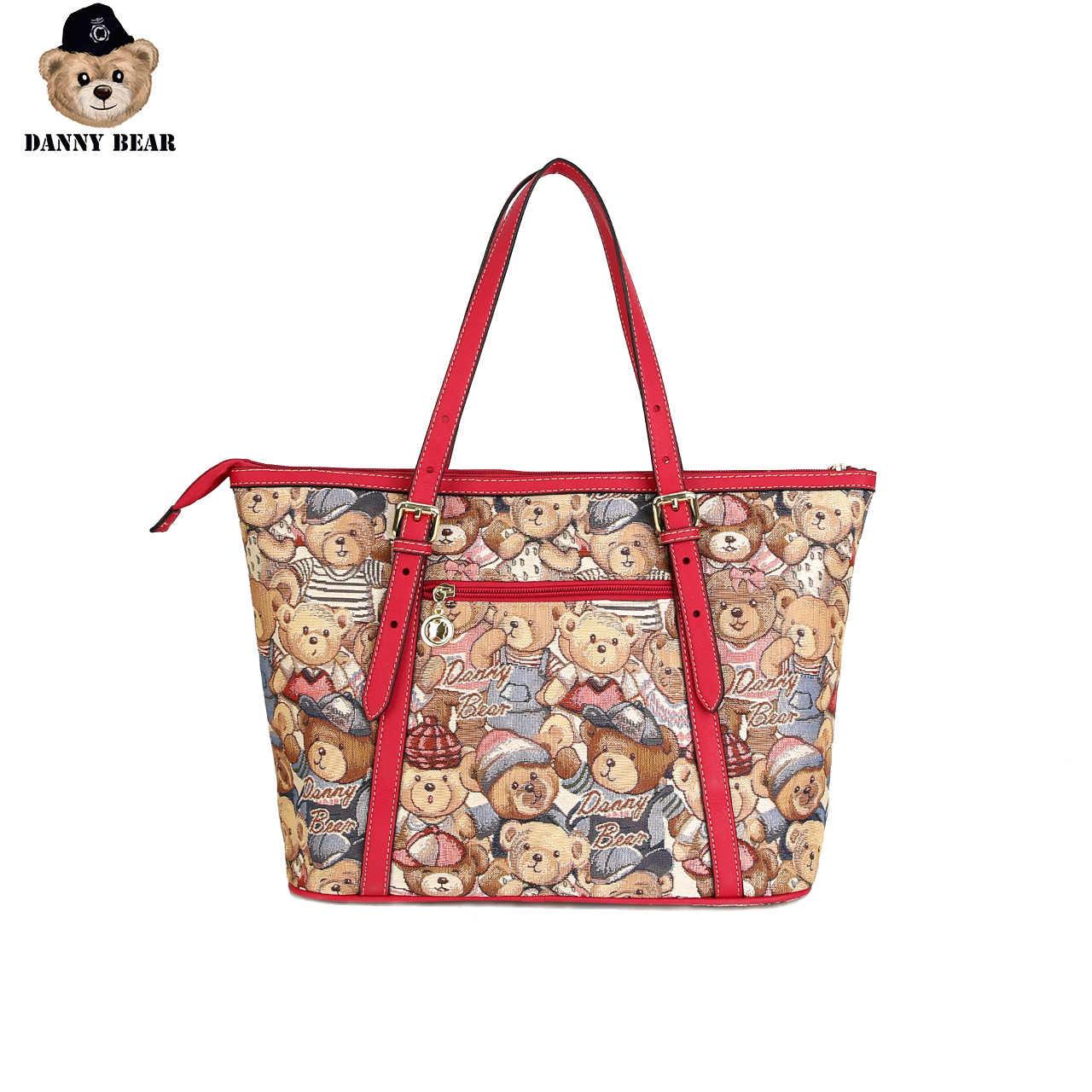 דני דוב דוב סדרת בציר נשים תיק סיבתי יומי אדום תיק כתף תיק דוב לוגו מודפס תיק DTB9915519-202R