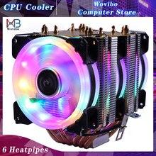 6 ısı boruları RGB CPU soğutucu X79 X99 3Pin PWM 4Pin sessiz Intel LGA 1150 1151 1155 1200 1366 2011 AMD AM3 AM4 Ventilador