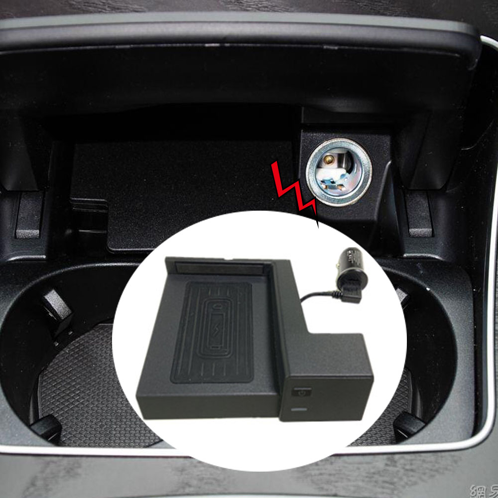 For Mercedes Benz GLC C Class C180 <font><b>C200</b></font> <font><b>W205</b></font> QI wireless charger for <font><b>AMG</b></font> C43 C63 mount phone holder water cup mobile stand case image