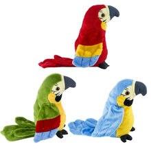 Bonito elétrico falando papagaio brinquedo de pelúcia falando registro repetições acenando asas pássaro eletrônico recheado brinquedo de pelúcia como presente para as crianças