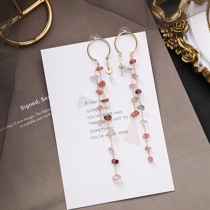 MENGJIQIAO Korean New Fashion Colorful Irregular Stone Long Tassel Drop Earrings For Women Elegant Pendientes Party Jewelry 2