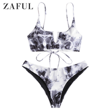 ZAFUL Women Tie Dye V-Wired Bralette Bikini Swimsuit Spaghetti Straps Lace Up Swimwear 2020 Padded Bathing Suit Fashion Summer zaful bikini new padded spaghetti straps bikini set cami string bralette bathing suit swimwear brazilian swimsuit women biquni