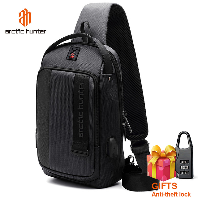 ARCTIC HUNTER 2019 USB Waterproof Men Chest Bag Male Leisure Messenger Shoulder Bag Crossbody Bolsas For Teenagers Travel