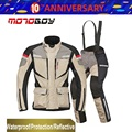 Free shipping 1set Winter Men's Racing Suit Waterproof Warm Windproof Reflective CE Armor Motorbike Motorcycle Jacket and Pants
