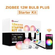 Gledopto לבן וצבע E27 12W LED חכם הנורה 2 Pack,Zigbee תואם 3.0 gateway, קול הופעל עם Alexa, 6 אזור מרחוק