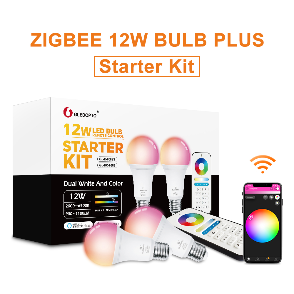 Gledopto branco e cor e27 12 w led inteligente bulbo 2-pack, zigbee compatível 3.0 gateway, voz ativada com alexa, 6-zone remoto