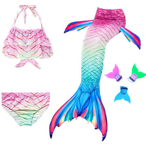 Image 1 - Newest 4PCS/Set  2020 Children Mermaid Swimwear Girls Colorful Bikini Swimsuit  with Monofin Fin Mermaid Cosplay Costumes