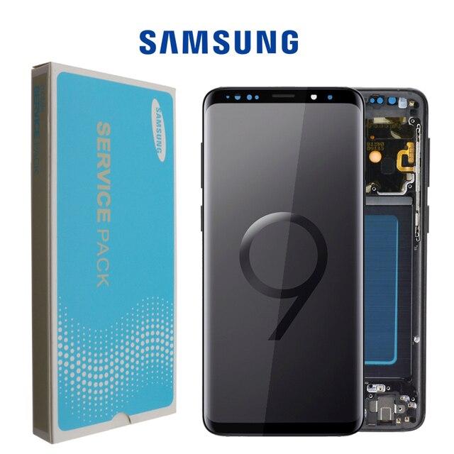 قطعة غيار سوبر أموليد أصلية لسامسونج غالاكسي S9, محوِّل رقمي لشاشة إل سي دي تعمل باللمس مع إطار S9 بلس، شاشات البلورات السائلة G960 G965 مع الإطار