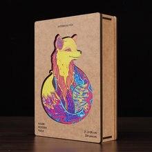 Tamanho a4 quebra-cabeças animais de madeira para adultos diy puzzle animal cada peça é quebra-cabeça de madeira em forma de animal com caixa de madeira presente de natal