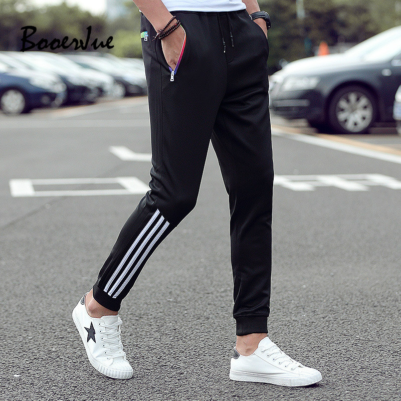 Men's Casual Pants 2020 Winter Trousers Men Pants Slim Fit Sweatpants Cotton Jogger Striped Bodybuilding Gyms Pants Sportswear