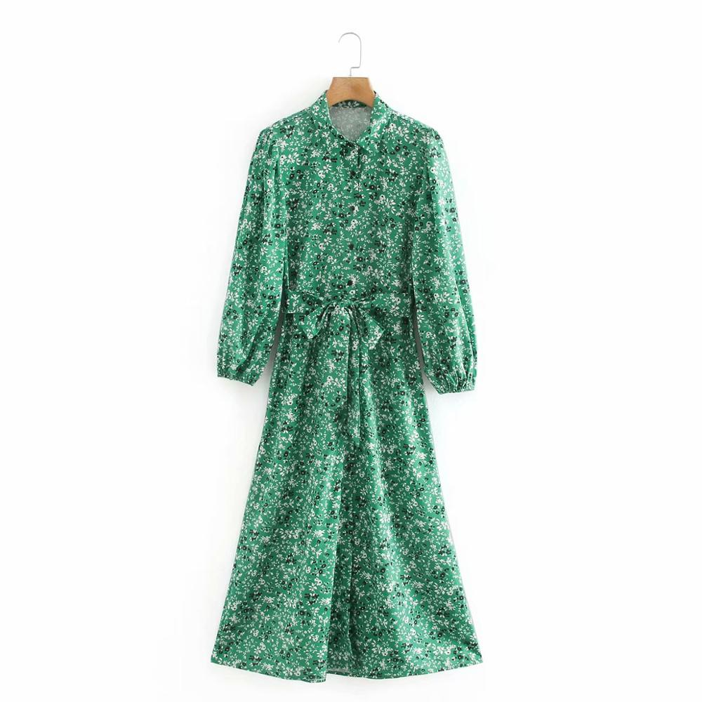2020 women vintage flower print bow sashes green midi dress office ladies pleats puff sleeve vestidos chic A Line dresses DS3813