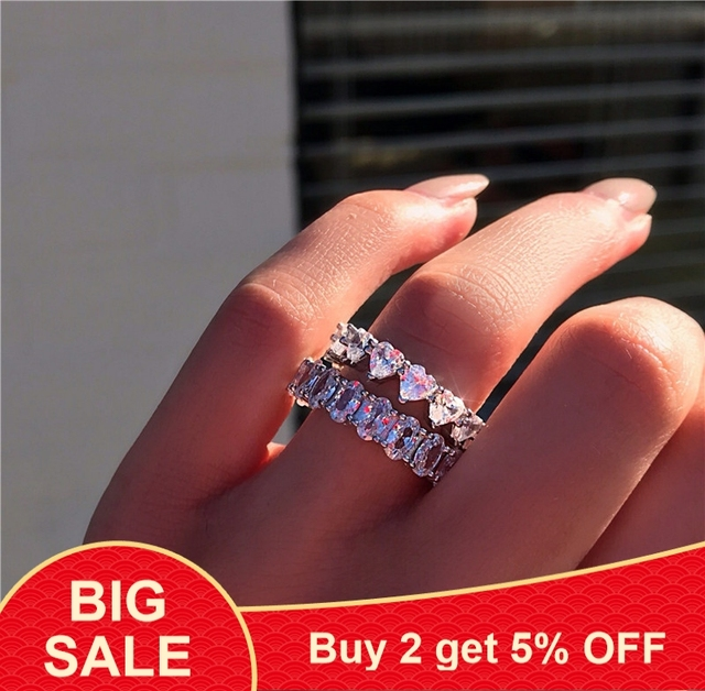 925 Sterling silver Stunning Lady ring Heart& Oval AAAAA Cubic Zirconia Engagement wedding band Rings for women Bridal Jewelry