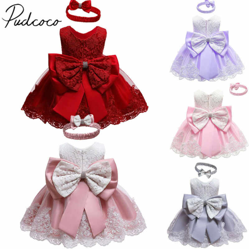 2019 Baby Summer Clothing New Baby Princess Girls Dress Christening Lace Wedding Party Kids Formal Clothes+ Headband 0-24M
