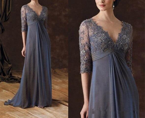 Plus Mother Of The Bride Dresses Half Sleeves Vestido De Madrinha A-Line V-Neck Empire Waist Floor-Length Chiffon Evening Gown