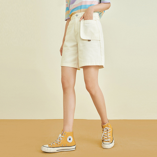 INMAN Summer Women's Shorts Casual Retro Literary Style Creative Stitching Pocket Logo Wide Cuffs Cotton Pure Color Bottoms 1