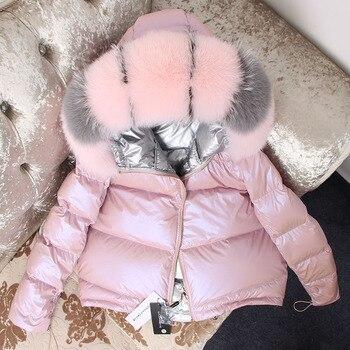 Модное блестящее пальто с капюшоном и воротником из лисьего меха, утепленное пуховое пальто, женские теплые парки, зимний свободный коротки