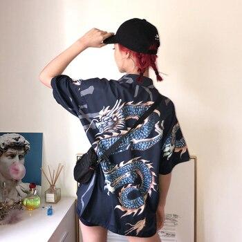 2021 Summer Spring Women Blouses BF style oversized shirts Harajuku Tops Dragon Printing Short Sleeve Shirts Female Streetwear 3
