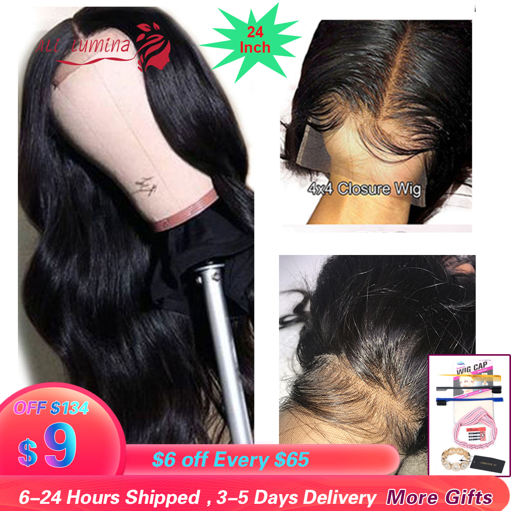 4x4 Closure Wigs Remy Transparent Lace Wiggins Hair 10 - 30Inch Brazilian Wig Human Hair Wigs 4x4 Closure Lace Wig Body Wave Wig
