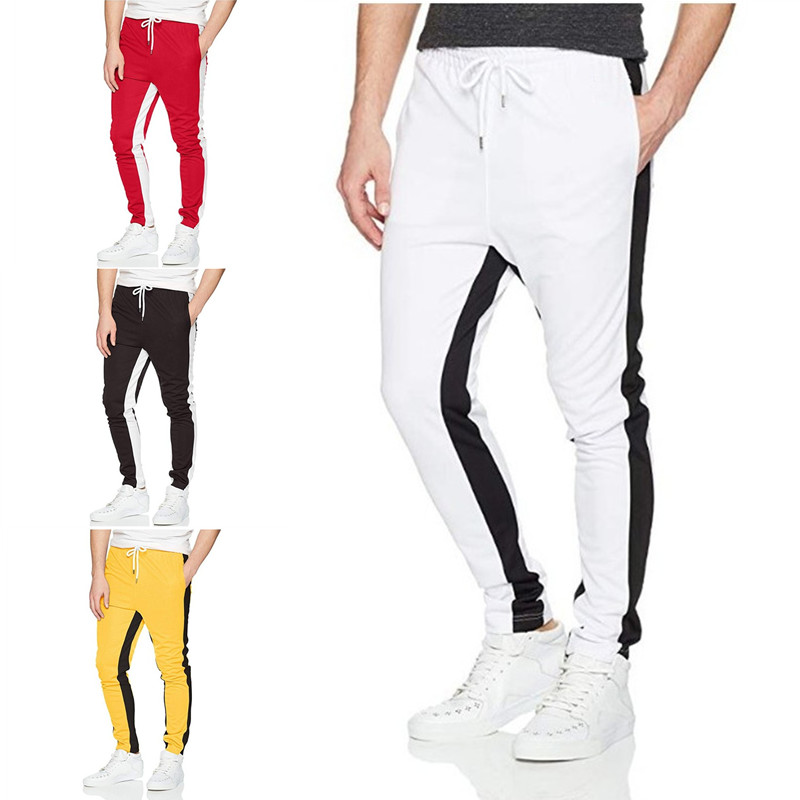 2019 New Streetwear Sweatpants For Men Causal Jogging Sportswear Pants Two-tone Splice Trendy Hip Hop Sweatpants Men's Trousers