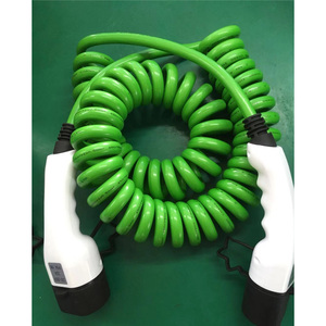 Image 2 - 32a one phase ev cable type 2 to type 2 spring wire EV charger for electric vehicle iec 62196 32a evse kit
