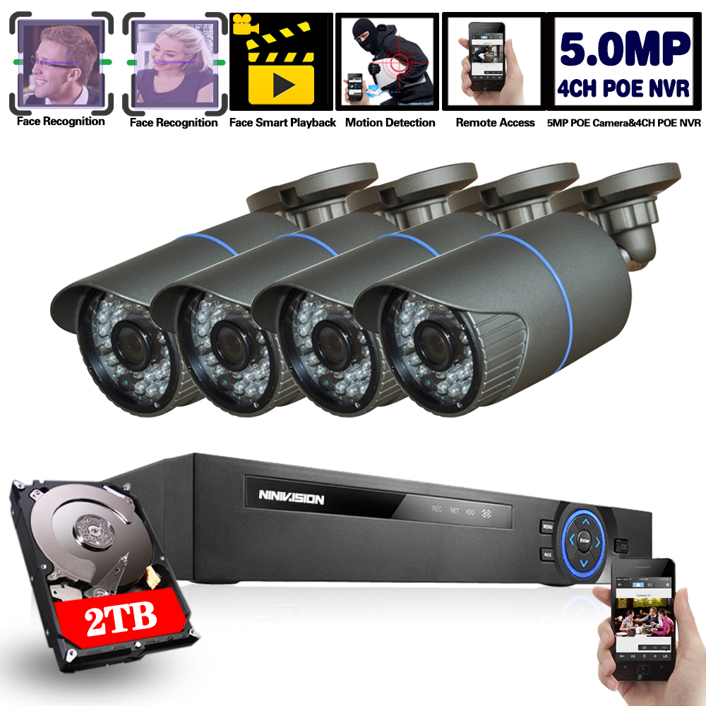 4CH <font><b>POE</b></font> NVR Kit HD Face Detection CCTV <font><b>Camera</b></font> System 5MP <font><b>Outdoor</b></font> Waterproof <font><b>IP</b></font> <font><b>Camera</b></font> <font><b>POE</b></font> Home Security Video Surveillance <font><b>Set</b></font> image